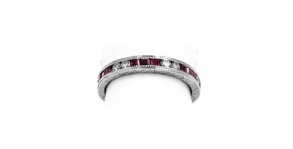 White Gold UB Channel 8 Diamond 9 Ruby Ring
