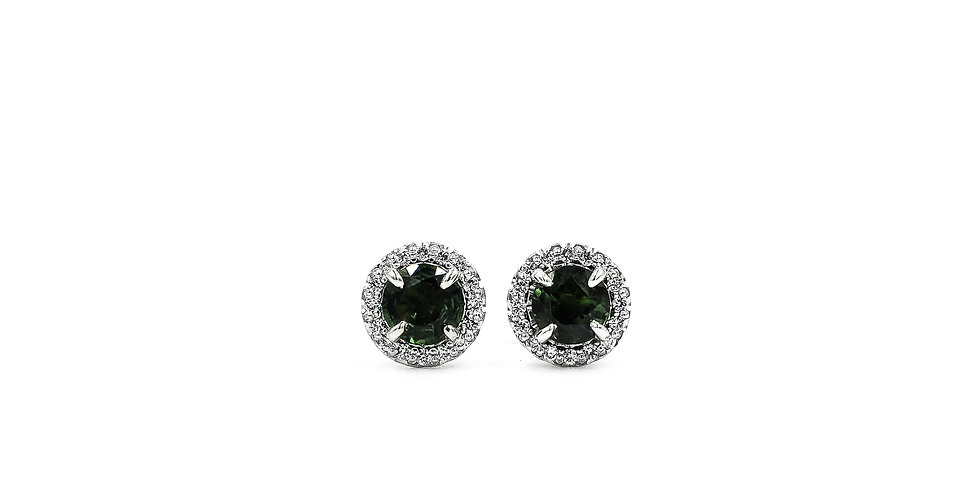 Classic Green Sapphire Halo Studs