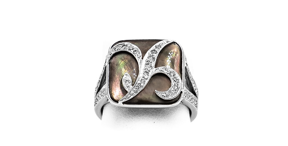 White Gold Grey Mother Of Pearl Square Shape Ring