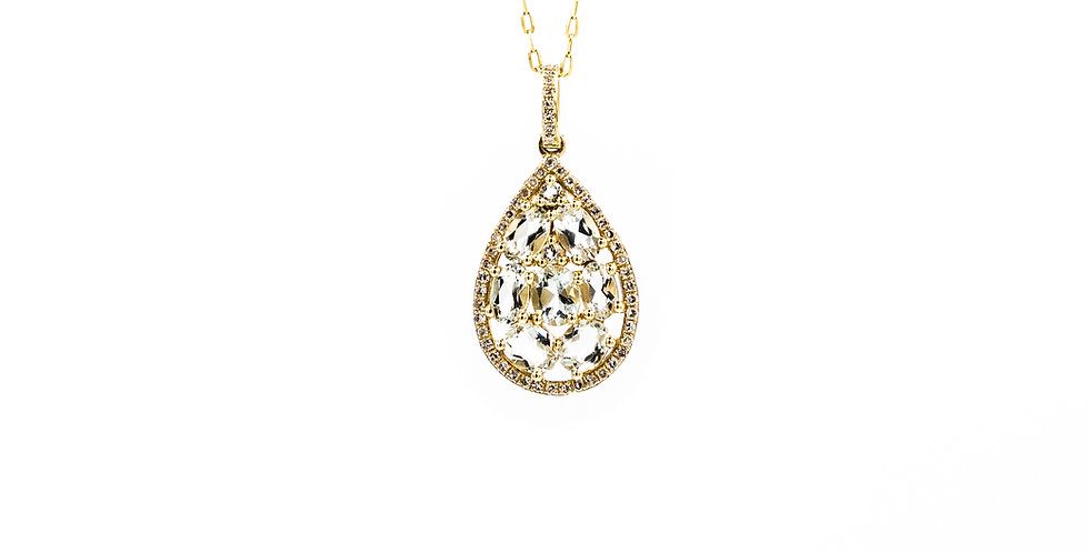 Classic Yellow Gold Thin Halo Green Amethyst Necklace