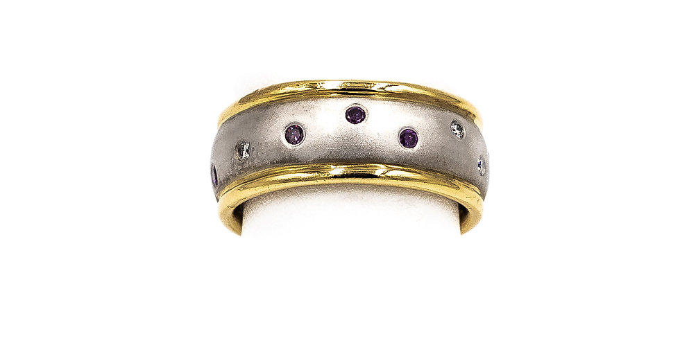 Two Tone With Scattered Multi Color Stones Ring