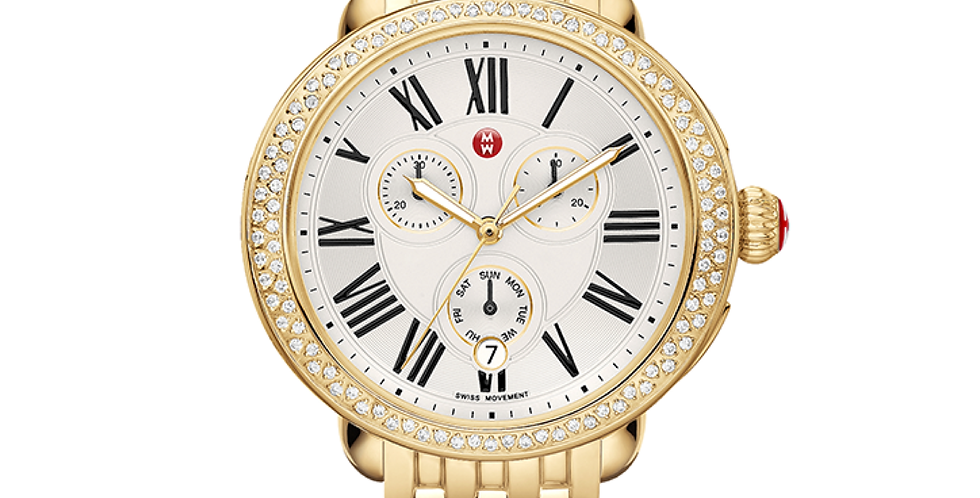 Michele Serein Diamond Gold Tone Chronograph Watch MW21A01B0966