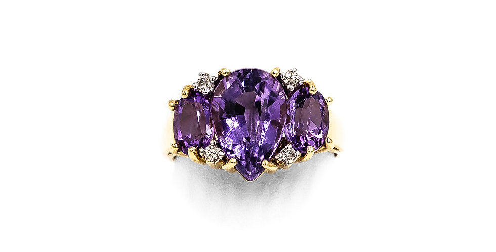 Yellow Gold Amethyst One PS And 2 Oval Shapes