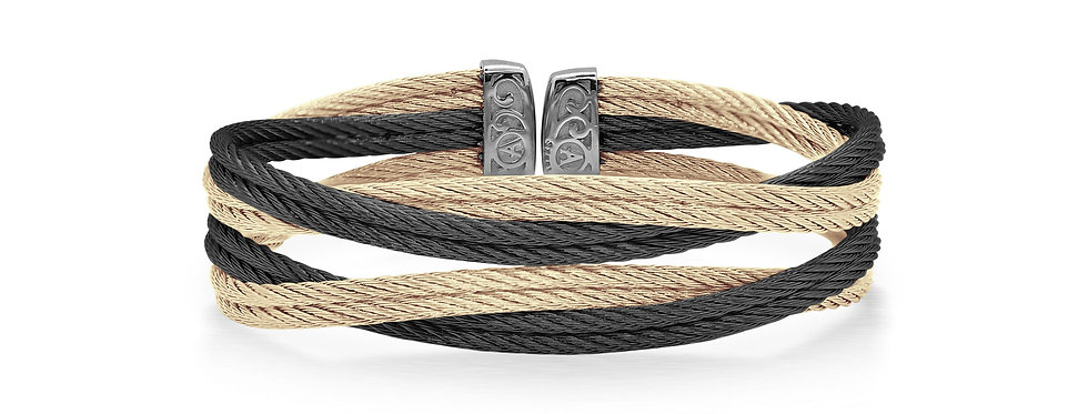 Carnation & Black Cable Entwine Cuff