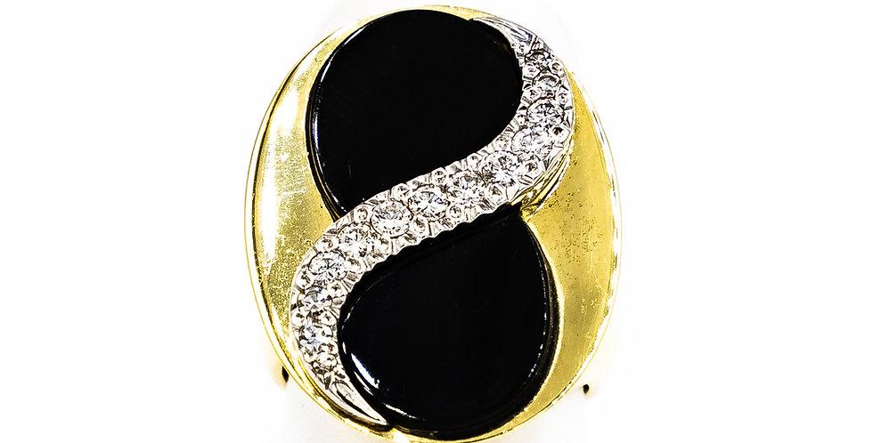 Yellow Gold Black Onyx With A Swirl BarIn Diamonds Ring