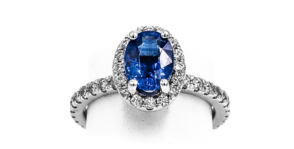 Platinum Oval Sapphire Diamond Halo Ring