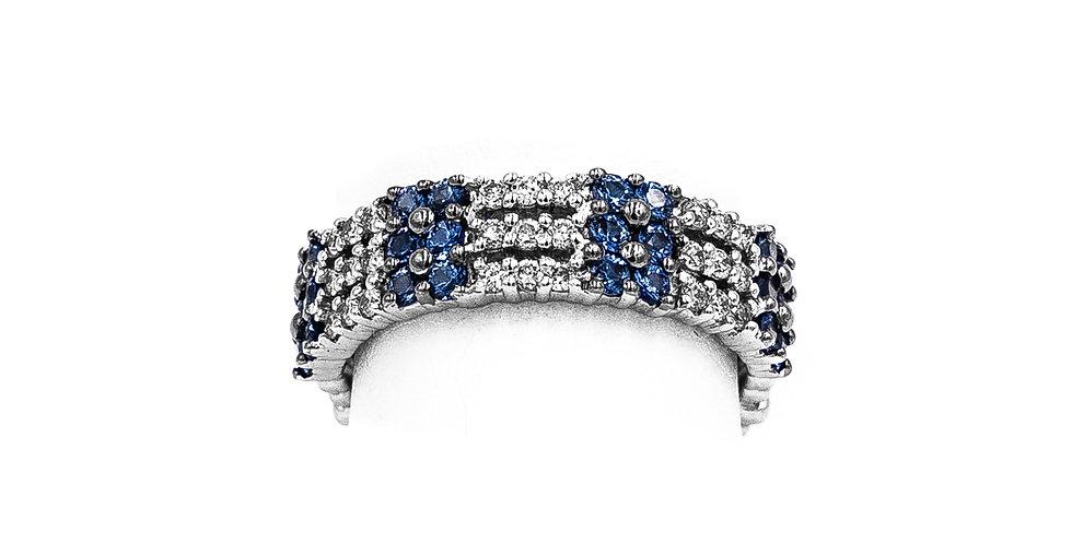 White Gold Diamond Sapphire 3 Row Band Ring