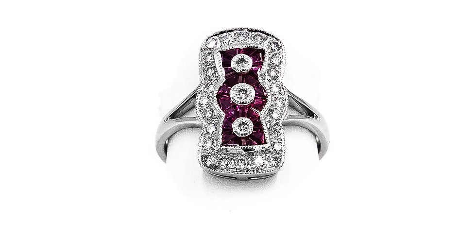 White Gold Vintage Antique Style With Rubies Ring
