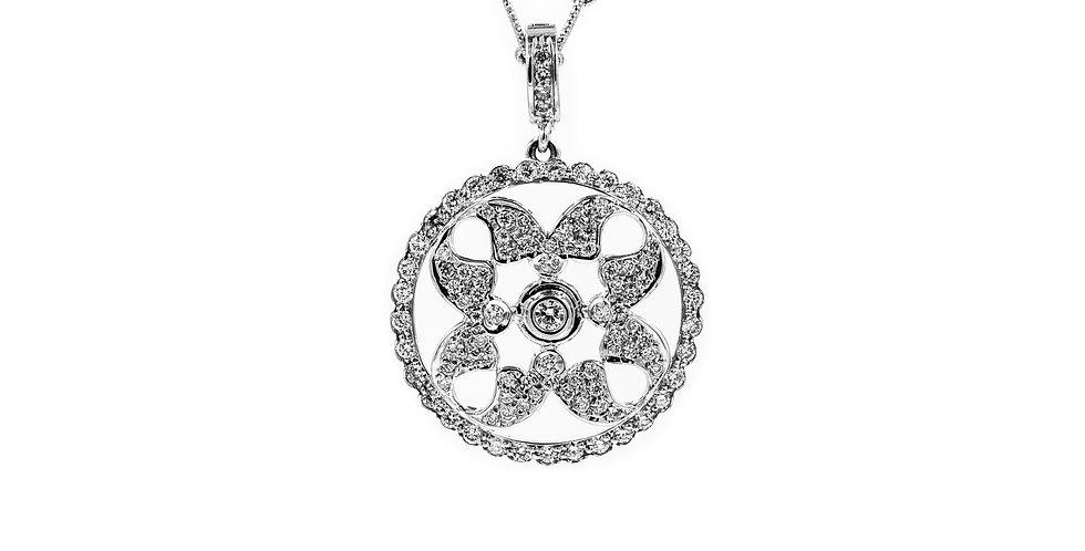 White Gold Open Work Enhancer Pendant Diamond Necklace