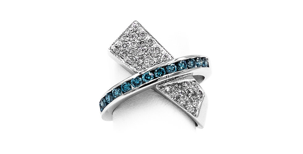 White Gold Pave Radiated Blue Diamond Channel Ring