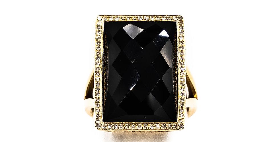 Yellow Gold Black Onyx Facet Stone Thin Halo Ring