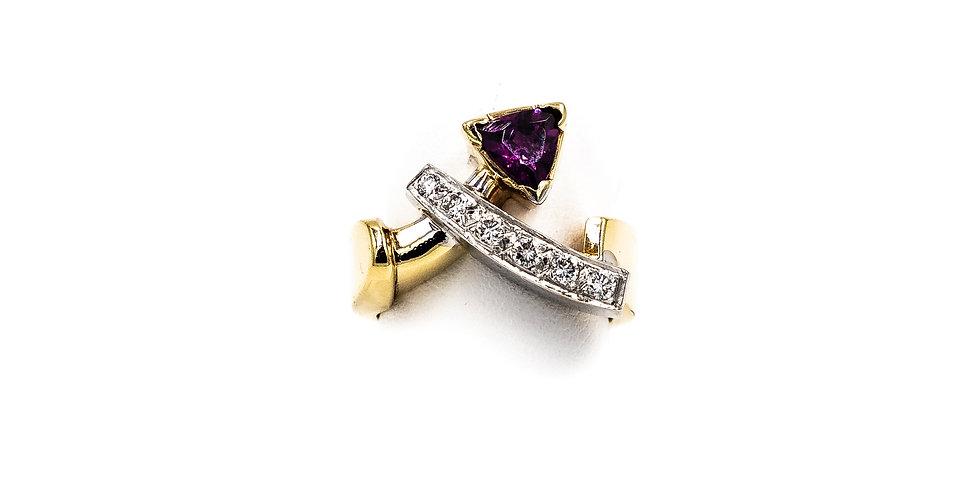 Yellow Gold Pink Sapphire Tourm Pave Diamond Strip Ring
