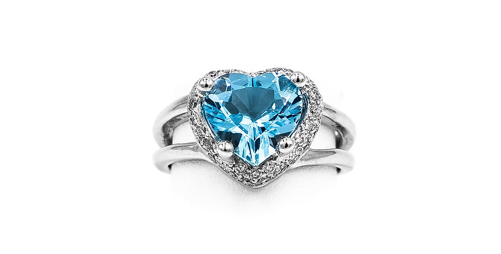White Gold Blue Topaz Heart Shape Pave Halo Ring