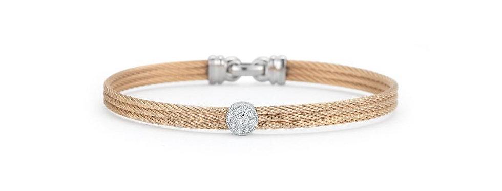 ALOR Classique Bangle 18k Rose Gold Single Diamond Station 04-35-S812-11