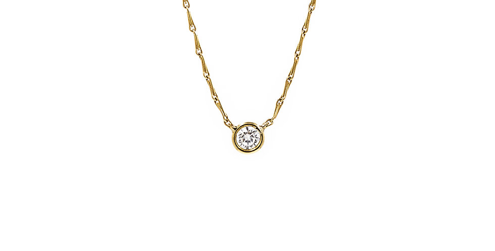 Yellow GoldDiamond Bezel With Chain Attached Necklace