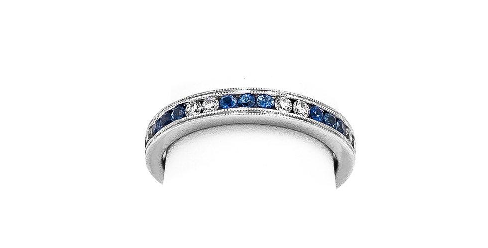 White Gold Diamond Sapphire Channel Double Milgrain Ring