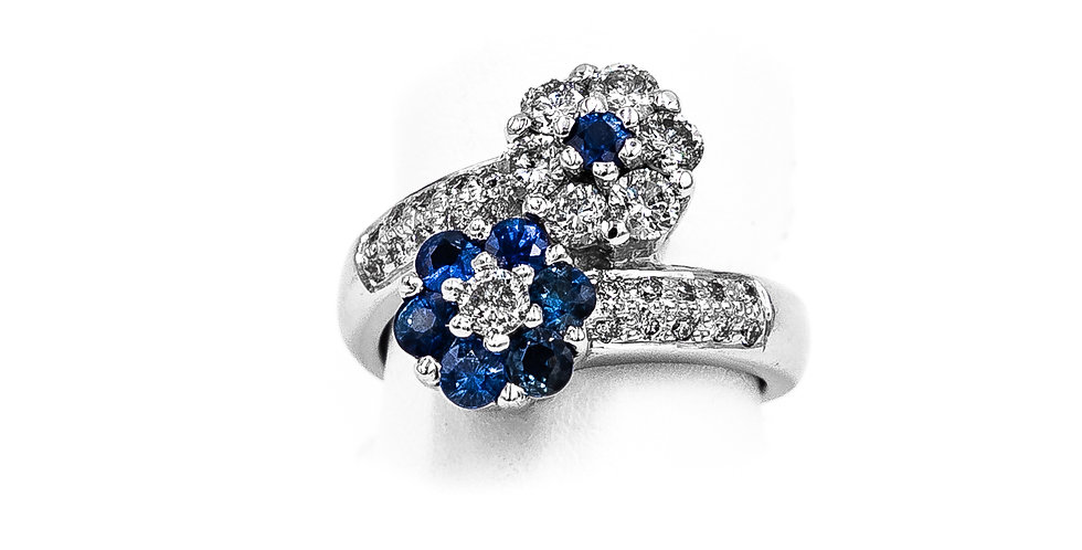 White Gold Diamond/Sapphire Bypass Style Flowers Ring