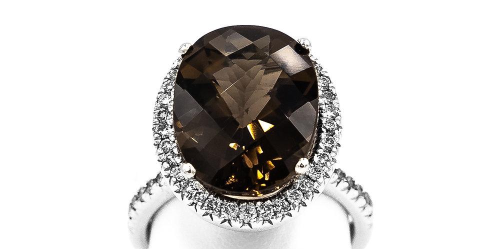 White Gold Oval Smokey Topaz Diamond Halo Ring