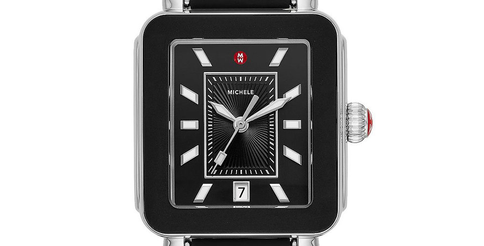 Michele Deco Sport Silver Black Wrapped Silicone Watch MWW06K000025
