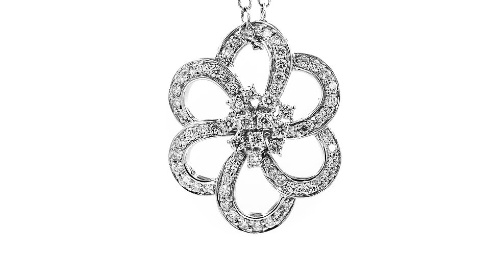 White Gold Open Flower With Roller Chain Necklace