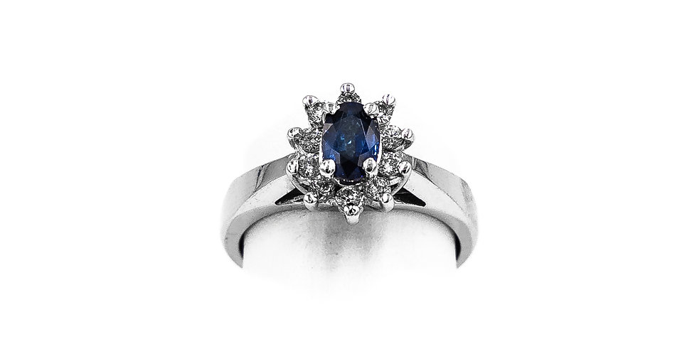 White Gold Oval Sapphire Center Halo Set Ring