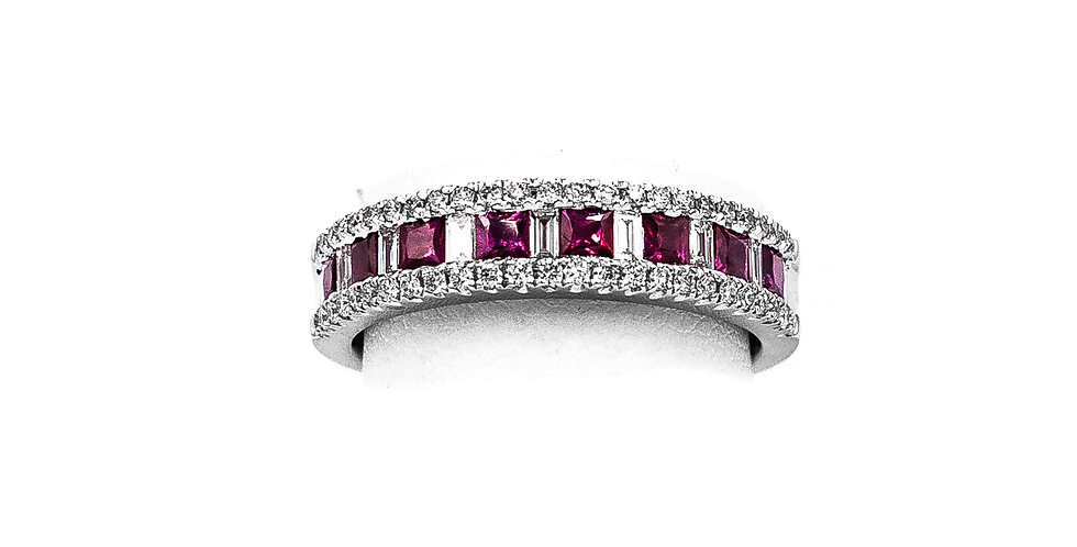 White Gold Princess Cut Rubies Diamonds Band Ring