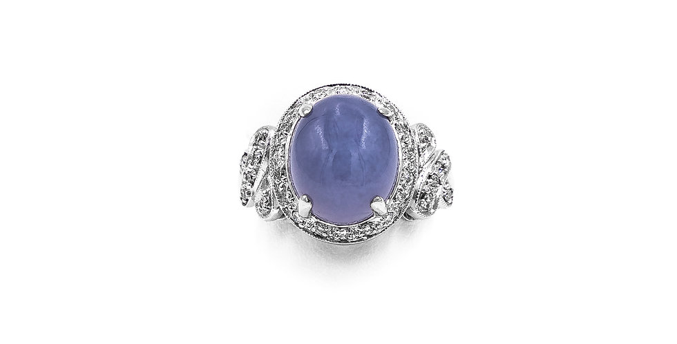 White Gold Oval Cap. Chalcedony Set In Antique Mounting Ring