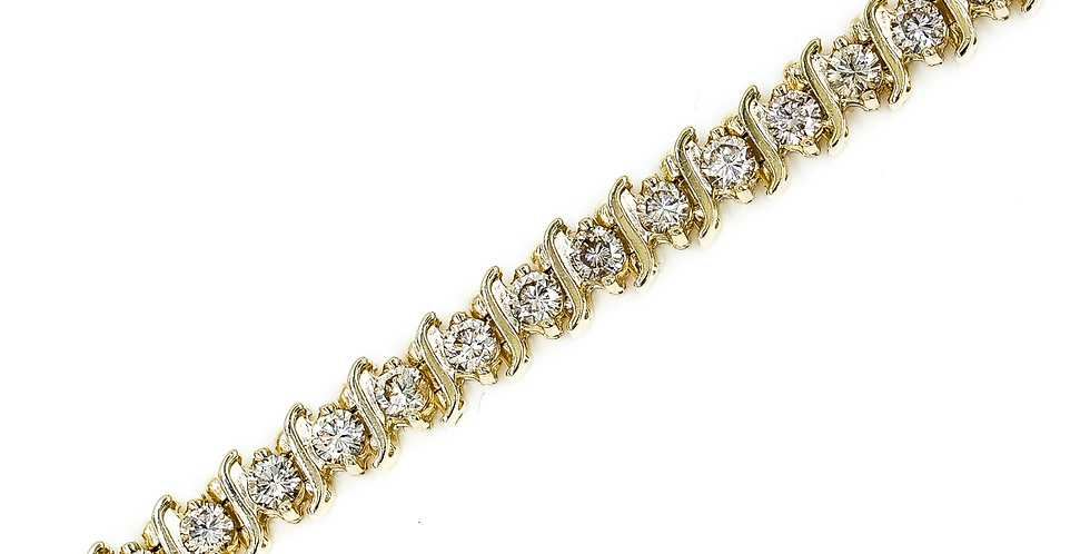 Classic Yellow Gold Diamond Tennis Bracelet