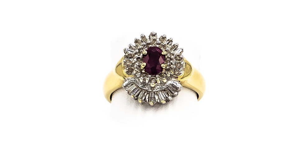 Yellow Gold Ruby Banquet Cluster Ring