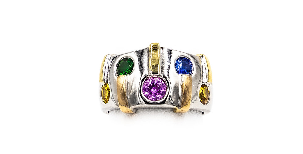 White Gold All Color Sapphire Two Tone Cigar Band Ring