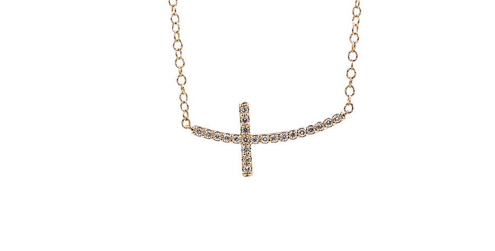 Sideways Rose Gold Cross Necklace