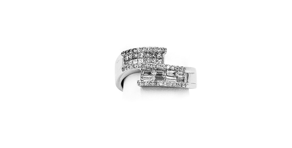 White Gold East/West Princess & Baguette CutDiamond Ring