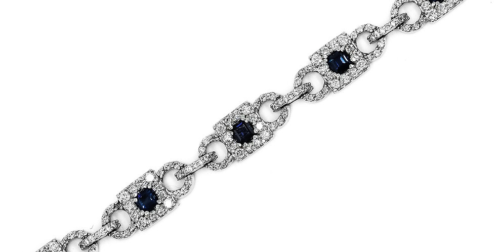 Classic White Gold Diamond/Sapphre Tennis Bracelet