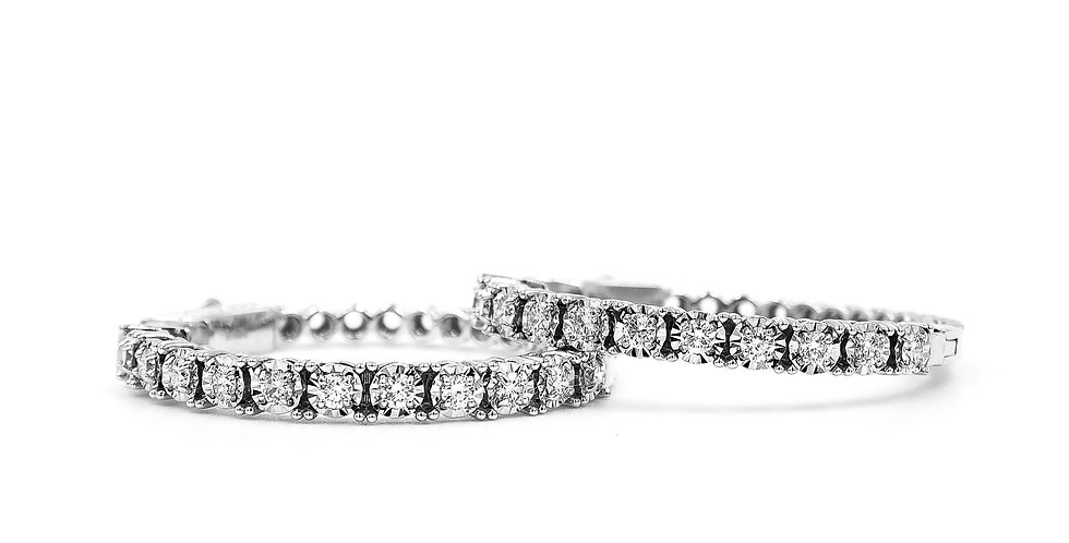 Classic Diamond Illusion Set Front Only Hoops