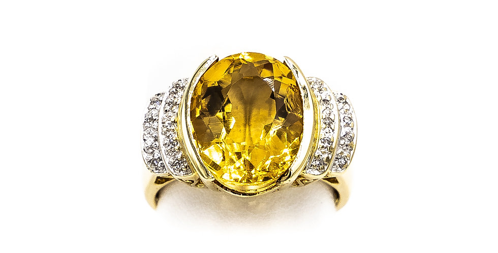 Yellow Gold Oval Citrine Center With 4 Rows Of Diamonds