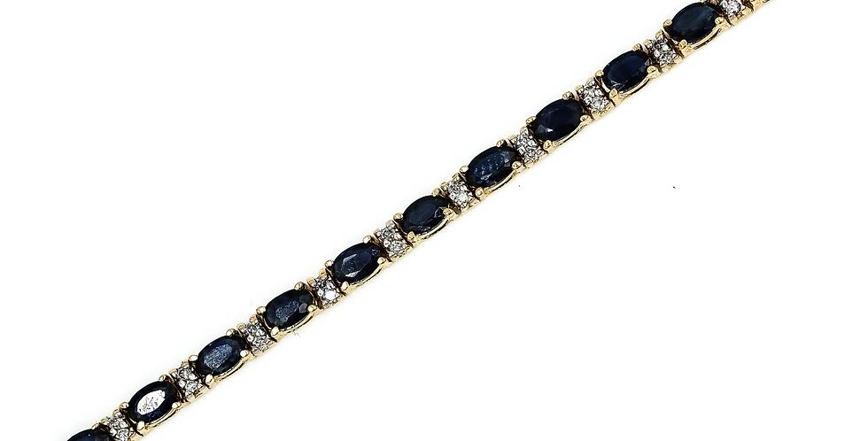 Classic Yellow Gold Sapphire?Diamond Tennis Bracelet