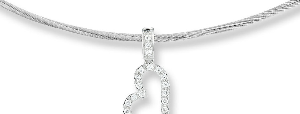 ALOR Grey Cable Necklace With White Gold Heart Pendant 08-32-S146-11