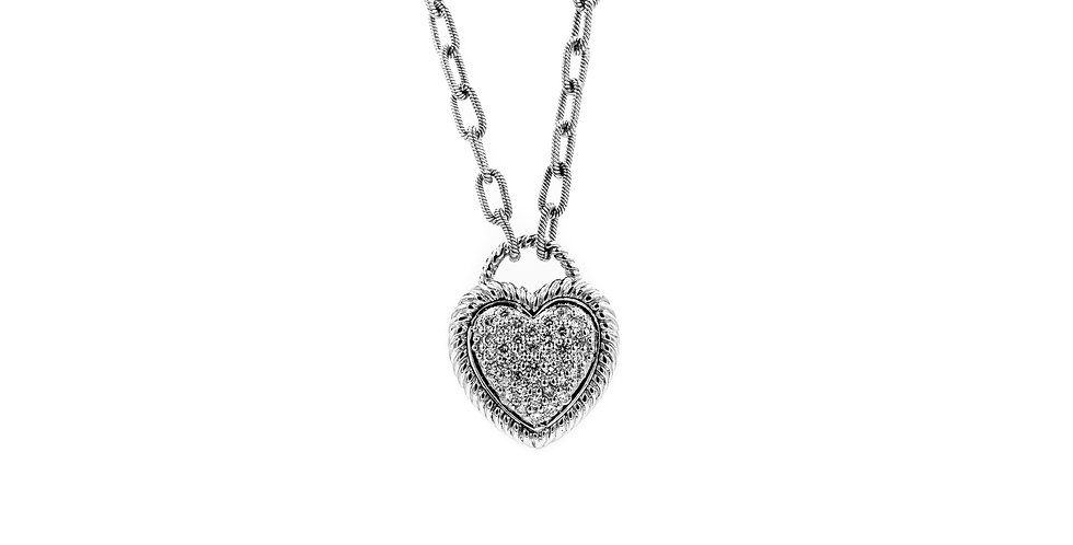 Classic White Gold Diamond Heart Necklace