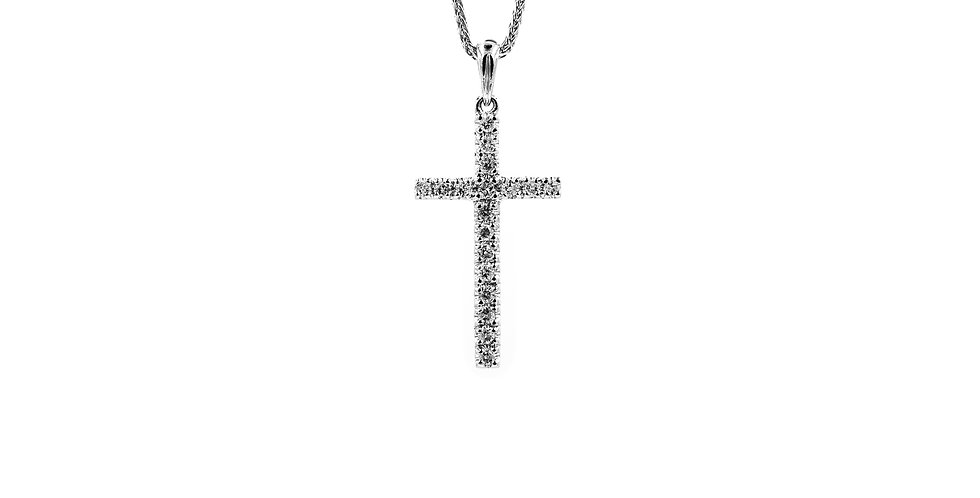 Classic White Gold Elongated Diamond Cross Ladies Necklace