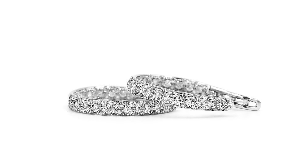 Classic Diamond Inside Outside Oval Pave Set Hoops