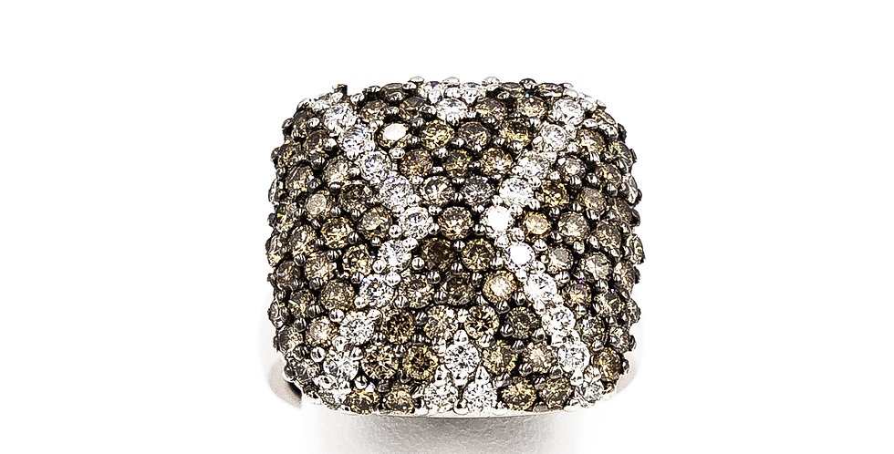 White Gold White/Champagne Diamond Square Cluster Ring
