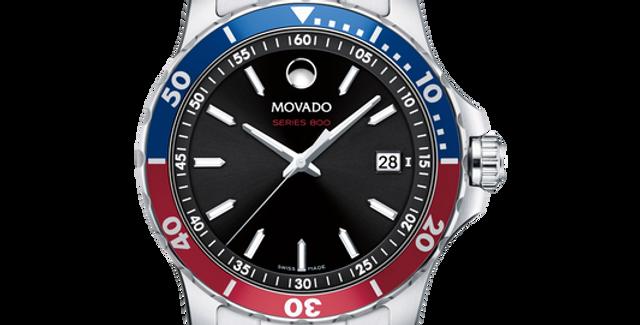 Movado Series 800 Pepsi Blue & Red Bezel Stainless Steel Men's Watch 2600152