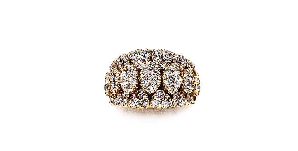 Rose Gold Cigar Band 7 Oval Clusters Diamond Ring