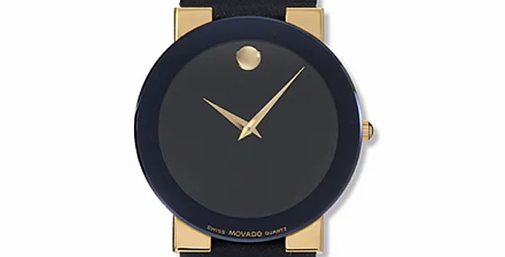 Movado Safiro Two Tone Gold Plate Black Leather Strap Ladies Watch 0603857