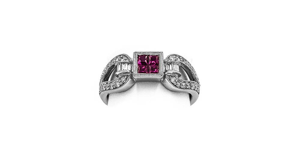 White Gold Princess Synthetic Ruby Antique Ring