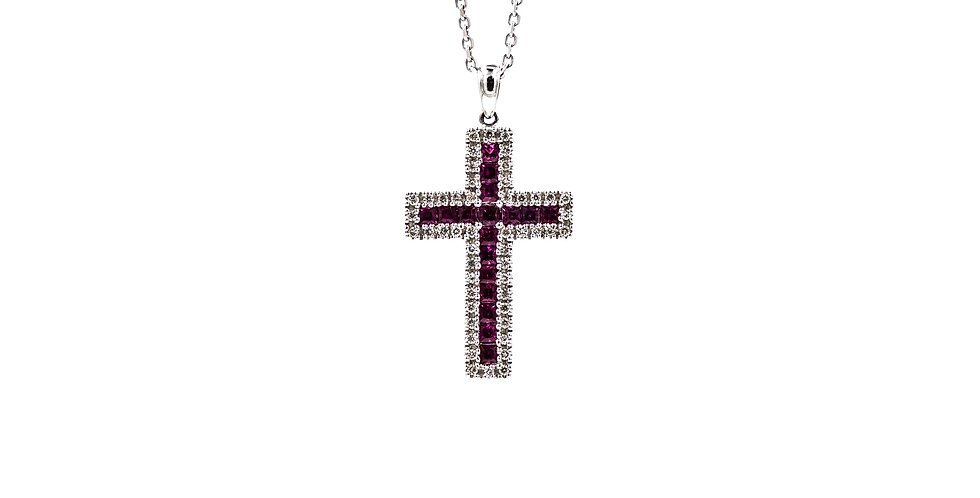 White Gold Diamond Ruby Channel Set Cross Ladies Necklace