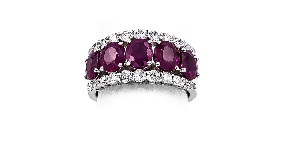 White Gold Oval Rubies Prong Channel Set Ring