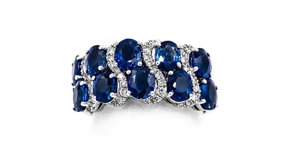 White Gold Diamond & Sapphire Wave Design Ring