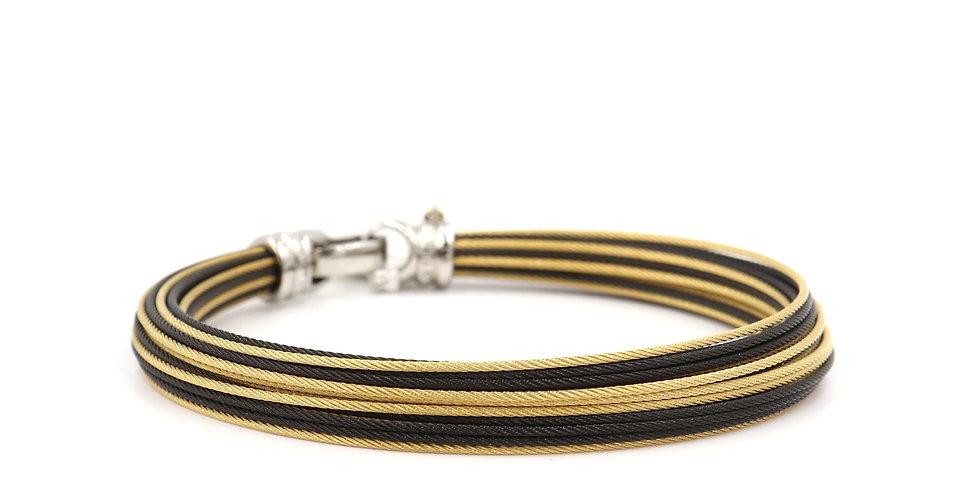 Alor Classique Black/Gold Cable Bracelet Ref. 04-580-33-000