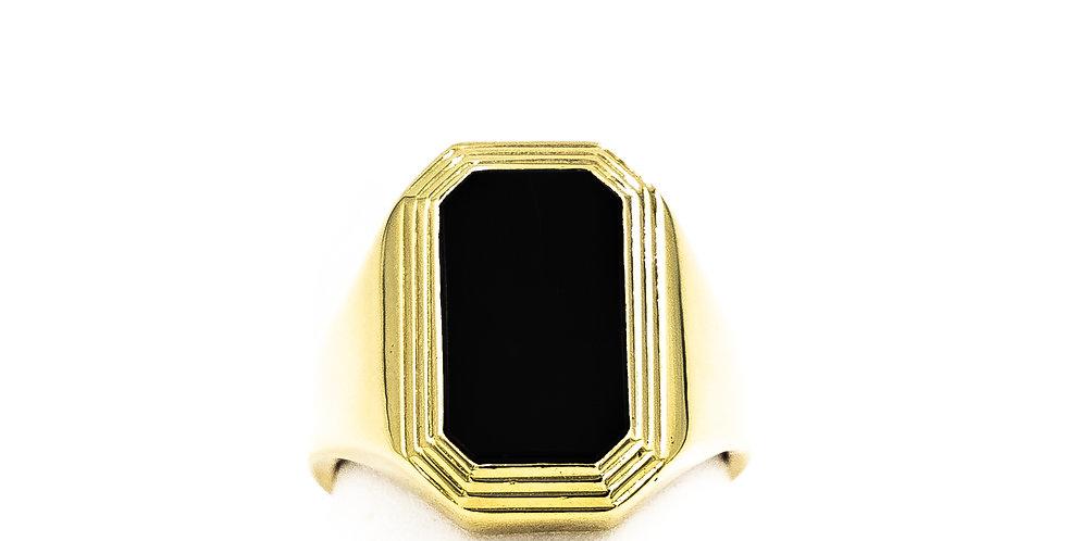 Yellow Gold Black Onyx High Polish Finish Ring